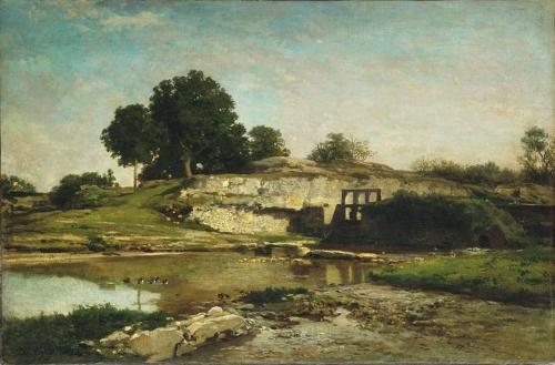 Жан-Франсуа Добиньи. Плотина в Оптево. 1859. Холст, масло. 73 x 48,5. Лувр, Париж.