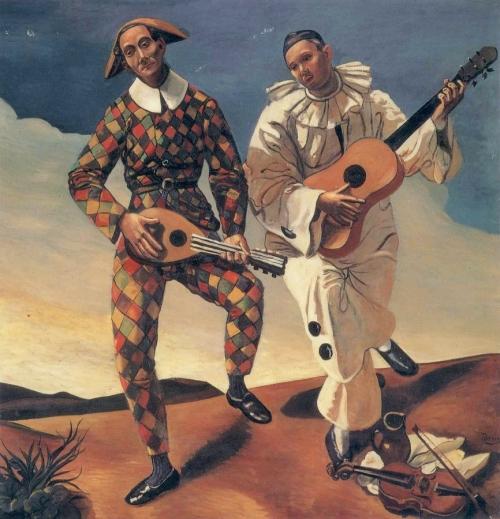 Андре Дерен. Арлекин и Перро.1924. Холст, масло. 175 x 175. Музей Оранжери, Париж.