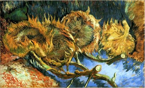 Винсент Ван Гог. Натюрморт с четырьмя подсолнухами. 1887. Холст, масло. 60 x 100. Государственный музей Крёллер-Мюллер, Оттерло, Нидерланды.