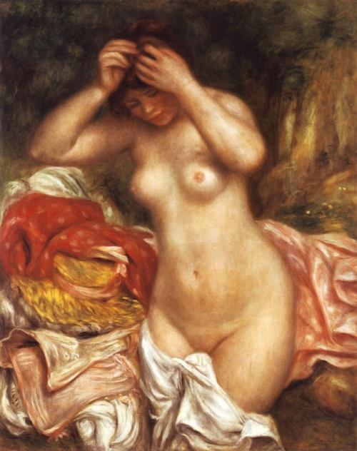 Огюст Ренуар. Купальщица, расчесывающая волосы. 1893. Холст, масло. 92.5 x 74. Национальная галерея искусств, Вашингтон.