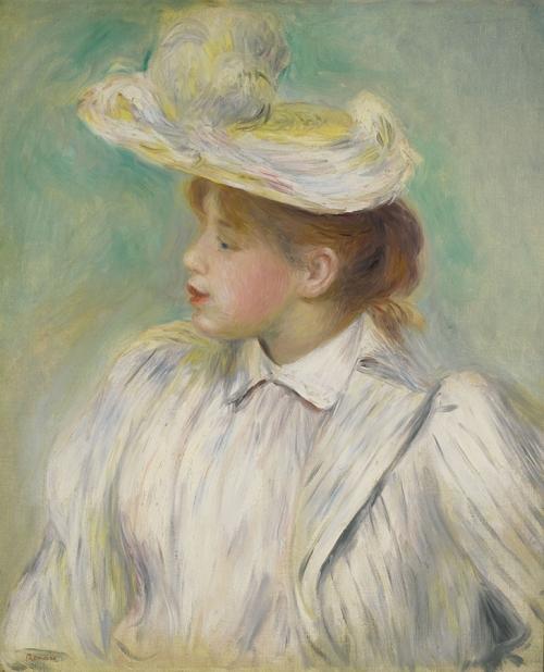 Огюст Ренуар. Девушка в соломенной шляпке. 1890. Холст, масло. 56 х 46. Частная коллекция.