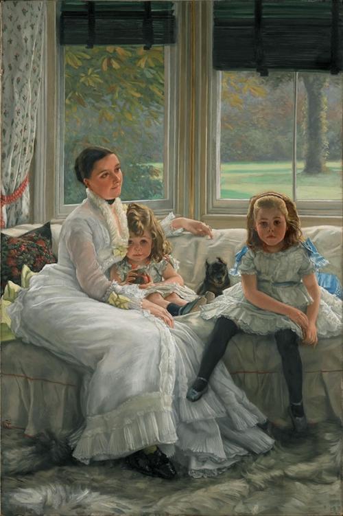 Джеймс Тиссо. Портрет Кэтрин Смит Джилл с двумя детьми. 1877. Холст, масло. 152.5 x 101.5. Национальный музей Ливерпуля, Ливерпуль.