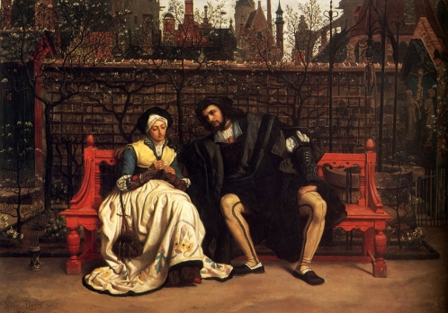 Джеймс Тиссо. Фауст и Маргарита в саду. 1861. Холст, масло. Частная коллекция.