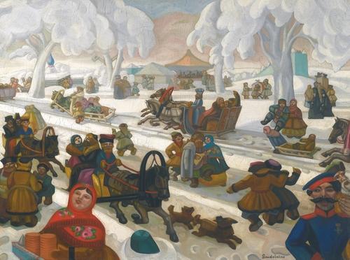 Сергей Судейкин. Русский зимний карнавал. 97 х 130.